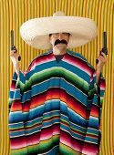 Bandit mustache Mexican gunman with revolver  sombrero and  poncho