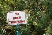 No Rock Throwing Sign poster