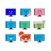 Computer Emoji Set. Sed And Happy Pc Emotion. Sick And Dead. Angry And Broken. Santa Pc Vector Illus poster