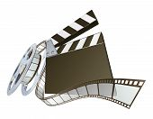 Filmklappe und Movie Film Reel