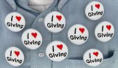 I Love Giving Charity Helping to Give Buttons Pins Shirt 3d Illustration poster
