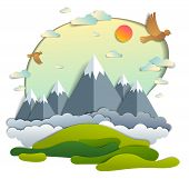 Scenic Landscape Of Mountain Peaks Range, Cloudy Sky With Birds And Sun, Summer Vector Illustration  poster