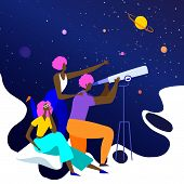 Happy Brown-skinned Friends Visiting Planetarium Looking At Celestial Bodies poster