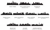 stock photo of new york skyline  - Silhouettes of the USA cities_3 - JPG