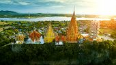 High Angle View Of Wat Thumsaue Kanchanaburi One Of Most Popular Traveling Destination In Thailand poster