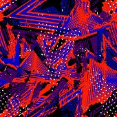 Abstract Neon Grunge Seamless Pattern. Urban Street Texture With Vibrant Lines, Chaotic Brush Stroke poster