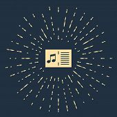 Beige Music Book With Note Icon Isolated On Dark Blue Background. Music Sheet With Note Stave. Noteb poster