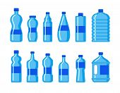 Plastic Water Bottle Icon. Blue Liquid Container Drink, Bottle Silhouette Set. Water Cartoon Bottles poster