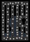 Glowing Mesh Prison Locked Door With Glare Effect. Abstract Illuminated Model Of Prison Locked Door  poster