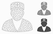 Mesh Medic Person Model With Triangle Mosaic Icon. Wire Frame Polygonal Mesh Of Medic Person. Vector poster