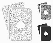 Mesh Peaks Playing Cards Model With Triangle Mosaic Icon. Wire Carcass Triangular Network Of Peaks P poster