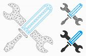 Mesh Tools Model With Triangle Mosaic Icon. Wire Frame Polygonal Mesh Of Tools. Vector Mosaic Of Tri poster