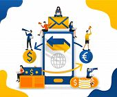 Transfer And Send Money With Application. Trade Between Currencies. Forex Trading Apps, Concept Vect poster