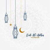 Lovely Islamic Eid Al Adha Greeting With Hanging Lamps poster