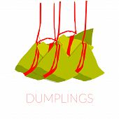 Rice Dumplings On Red Strokes Isolated On White Background With Thin Red Text Dumplings . Colorful V poster