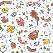 Carnivore Diet Seamless Pattern. Food Pattern With Pork, Meat, Shrimp, Egg, Cheese, Sausage, Fish, S poster