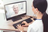 Doctor And Senior Woman Patient Medical Consultation, Telehealth, Telemedicine, Remote Health Care C poster