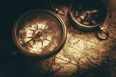 Aged Vintage Compass And World Map Closeup. Old School Sepia Color Grading. Adventure And Journey Th poster