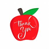Thank You Teacher Vector Card With An Red Apple. Happy Teachers Day Calligraphy. poster