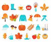 Autumn Icon. Vector. Fall Season. Cute Autumnal Elements With Leaves, Pumpkin, Umbrella, Rain. Flat  poster