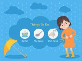 Cute Girl Wearing Orange Raincoat Have A Stomachache With Yellow Umbrella In The Rain, Rain Sick, Ra poster
