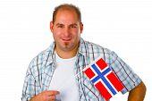 image of youg  - Youg man with Norwegian flag isolated on white background - JPG