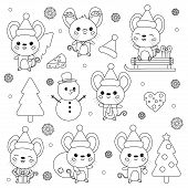 Vector Set Of New Year Symbol - Rat. Cute Cartoon Kawaii Mouse Characters. Christmas Theme. Coloring poster