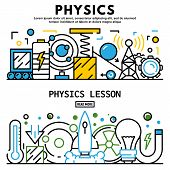 Physics Lesson Banner Set. Outline Set Of Physics Lesson Banner For Web Design poster