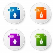 Color Eps File Document. Download Eps Button Icon Isolated On White Background. Eps File Symbol. Set poster