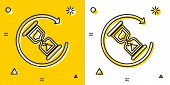 Black Waiting Icon Isolated On Yellow And White Background. Wait Time Icon. Hourglass Clock. Random  poster