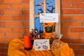 Halloween Home Decorations With Spiders And Pumpkin Bucket For Trick Or Treat. Greeting Card. Hallow poster