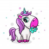 Unicorn Baby Cute Print. Sweet Tiny Pony. Cool Animal With Polka Dot And Flower poster