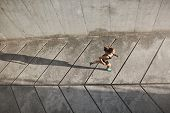 Overhead View Athletic Female Jogger Running On Concrete Track In Black Sportsbra And Shrots, Move T poster