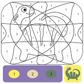 Cute Dino Coloring Page For Kids. Printable Design Coloring Book. Coloring Puzzle With Numbers Of Co poster