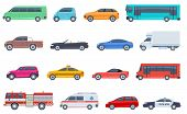 City Transport Set. Police Car Ambulance Fire Engine Bus Taxi Cabriolet Suv Pickup Vector Flat Isola poster