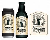 Vector Label For Craft Beer In Retro Style On Light Background, Decorated By Wheat Or Barley Ears An poster
