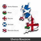 United Kingdom Of Great Britain Map And Flag ( Scotland . Northern Ireland . Wales . England ) . Wav poster