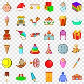 Carousel Icons Set. Cartoon Style Of 36 Carousel Icons For Web For Any Design poster