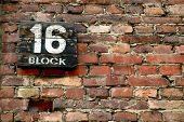 stock photo of auschwitz  - Auschwitz - block number 16, background image ** Note: Slight blurriness, best at smaller sizes - JPG