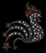 Glowing Mesh Rooster Sparkles With Sparkle Effect. Abstract Illuminated Model Of Rooster Sparkles Ic poster