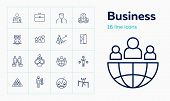 Business Line Icon Set. Portfolio, Partnership, Idea. Business Process Concept. Can Be Used For Topi poster