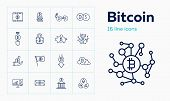 Bitcoin Icon Set. Set Of Line Icons On White Background. Crypto Currency Concept. Piggy Bank, Bitcoi poster