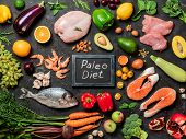 Paleo Diet Concept. Raw Ingredients For Paleo Diet - Fish, Seafood, Poultry Meat, Vegetables And Fru poster