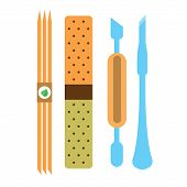 A Set Of Tools For Nail Care: Sticks, Scraper Nail, Nail File. Illustration On Nail Care, Manicure T poster