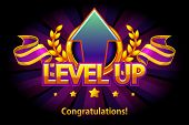 Level Up Icon, Game Screen. Vector Illustration With Arrow And Puple Award Ribbon. Graphical User In poster