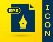 Blue Eps File Document. Download Eps Button Icon Isolated On Yellow Background. Eps File Symbol. Vec poster