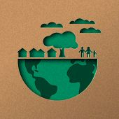 Papercut World Map Illustration. Green City And People In Recycled Paper For Sustainable Lifestyle. poster