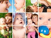 image of mother child  - Happy fathe mother and innocent baby smiling - JPG