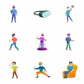 Vr Goggles Icon Set. Cartoon Set Of 9 Vr Goggles Vector Icons For Web Design Isolated On White Backg poster