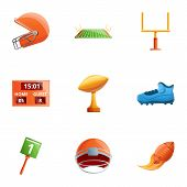 American Football Equipment Icon Set. Cartoon Set Of 9 American Football Equipment Vector Icons For  poster